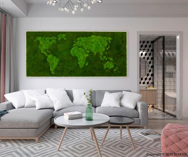 cuadro mapa mundo vegetal bemoss